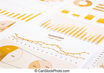 yellow business charts, graphs, report and summarizing...
