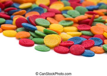 Confeti, colorido, dulce