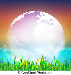 Abstract background of globe with grass vector illustration....
