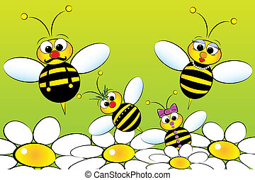 Bees Family - Kids Illustration - Bee Family: father, mother...