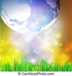 Abstract background of globe with grass vector illustration...