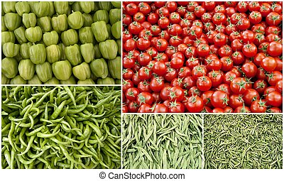 Collage of different vegetables like tomatoes, green pepper