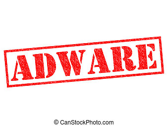 ADWARE red Rubber Stamp over a white background.