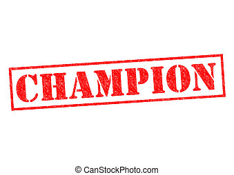 CHAMPION red rubber Stamp over a white background.