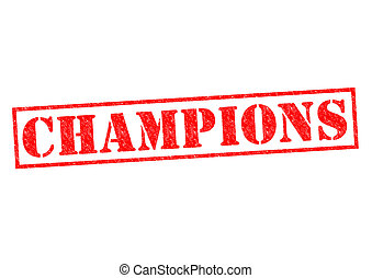 CHAMPIONS red Rubber Stamp over a white background.