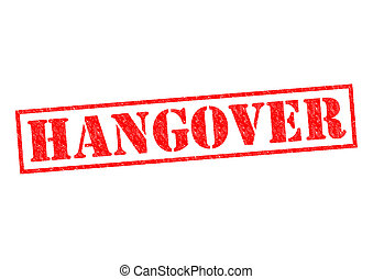 HANGOVER red Rubber Stamp over a white background