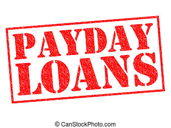 PAYDAY LOANS red Rubber Stamp over a white background.