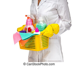 Cleaner maid woman with plastic