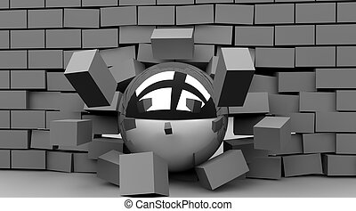Breakthrough - Ball crashing through wall to illustrate the...