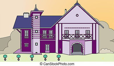 Farmhouse purple - Vector illustration of a house, EPS 8...