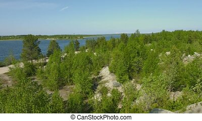 Northern landscape with pines and Niva River. Russia - Video...