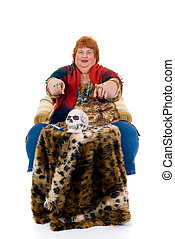 Fortune teller - Self confident obese middle aged female...