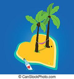 Love island - A heart shaped beautiful island and a love...