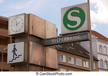 Hamburg Reeperbahn Station - Sign for the Reeperbahn station...