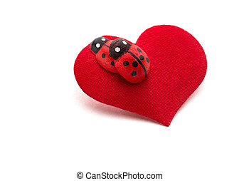 Love making ladybugs couple on the red heart Creative...
