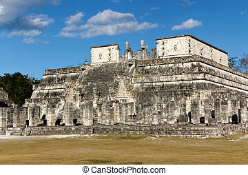 Mayan Temple at Chichen Itza - Columns in the foreground...