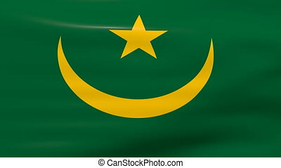 Waving Mauritania Flag, ready for seamless loop