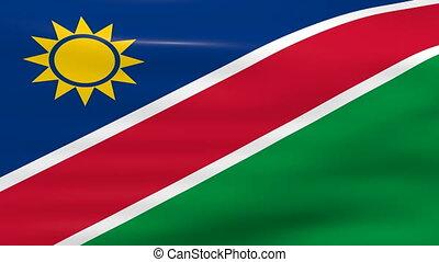 Waving Namibia Flag, ready for seamless loop.