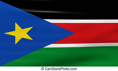 Waving South Sudan Flag, ready for seamless loop.