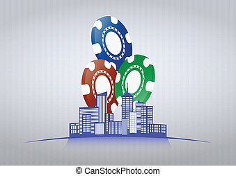 city casino - illustration of city with colorful chips...