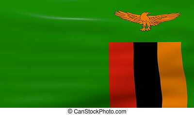 Waving Zambia Flag, ready for seamless loop.
