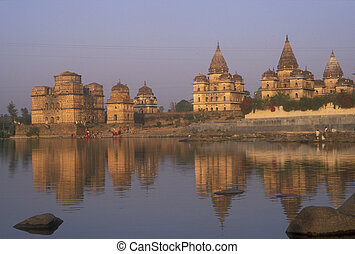 Royal Chhattris - Rajput style mausoleums by the river at...