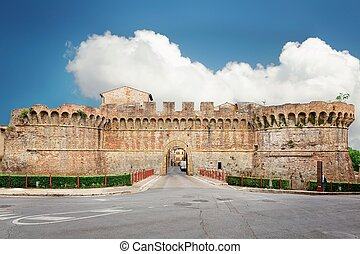 Colle Val D'Elsa - remains of medieval fortifications of the...