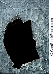 Accident, cracked window glass - Glass cracks and splinters...