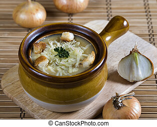 French onion soup with  cheese and bread