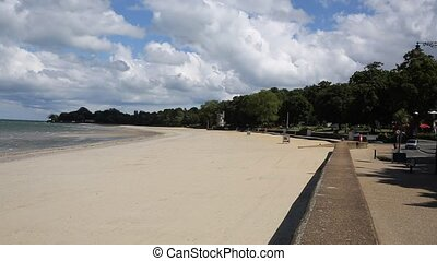 Ryde sandy beach Isle of Wight a tourist town on the north...
