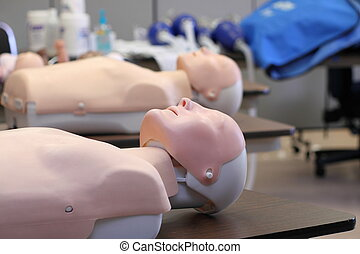 CPR Training Dummy - CPR training dummy in a classroom on a...
