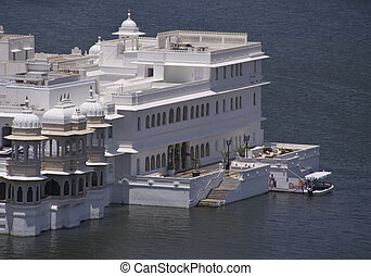 Lake Palace. Rajput style palace floating in the middle of...