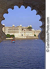 Indian Palace - Rajput style palace on the shore of Lake...