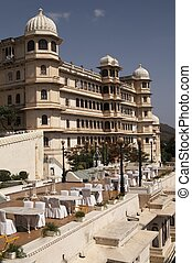 Luxury Hotel, Udaipur - Open air restaurant and Rajput style...