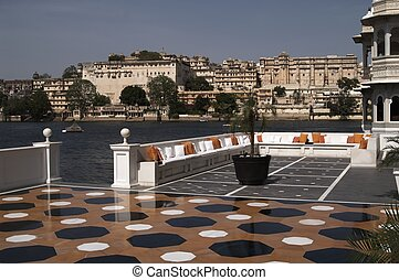 Marble Terrace - Terrace in the Lake Palace. Rajput style...
