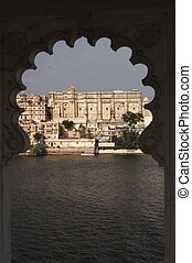 Framed Indian Palace - Rajput style palace on the shore of...