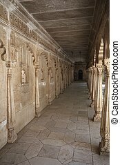 Marble Colonnade - White marble colonnaded corridor around a...