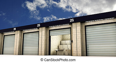 self storage with many cardboard boxes inside