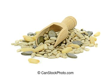 A Pile of Mixed Seeds and Nuts