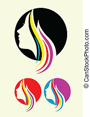 Beauty hair style icon - art vector decoration