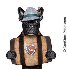 bavarian dog - bavarian dog holding a beer barrel with...