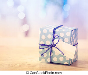 Blue and White Gift box - Polka dot present box with label...