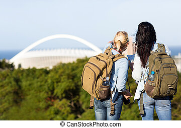 tourists in Durban, South Africa - two tourists touring in...