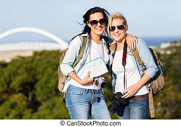 two young women touring Durban, South Africa - two beautiful...