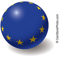 European union flag texture on ball. Design element....