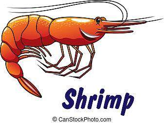 Cartoon shrimp icon or emblem