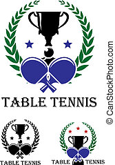 Table Tennis emblem for a championship with crossed bats and...