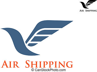 Air shipping symbol or emblem - Dove bird with big wing as...