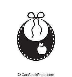 Baby bib - Black vector cute baby bib icon isolated