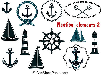 Set of nautical heraldry themed elements - Set of nautical...